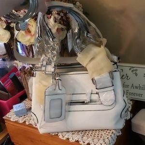WHITE LEATHER Satchel Shoulder bag